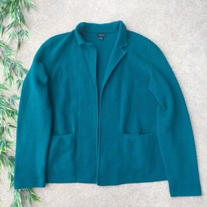 Talbots Lambswool Ribbed Open Front Cardigan